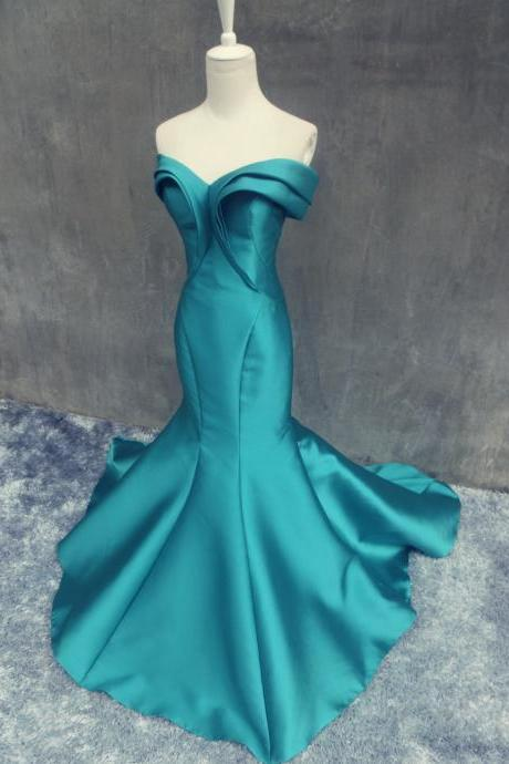 Women's Mermaid Turquoise Soft Satin Prom Dress off the shoulder Floor Length Evening Dresses