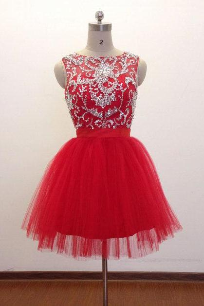 Women's Short Tulle Red Prom Dress Beaded Women Party Dress