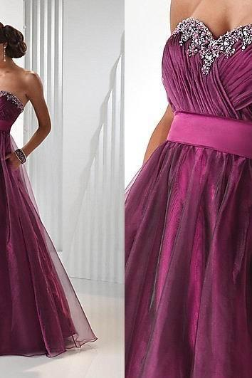 Strapless A-line Purple Tulle Prom Dress Beaded Women Long Dress AF06079320