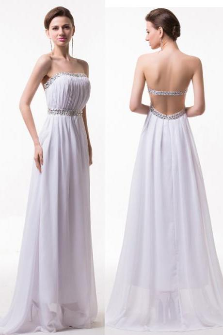 Backless Long Chiffon White Prom Dresses Beaded Long Women Party Dress
