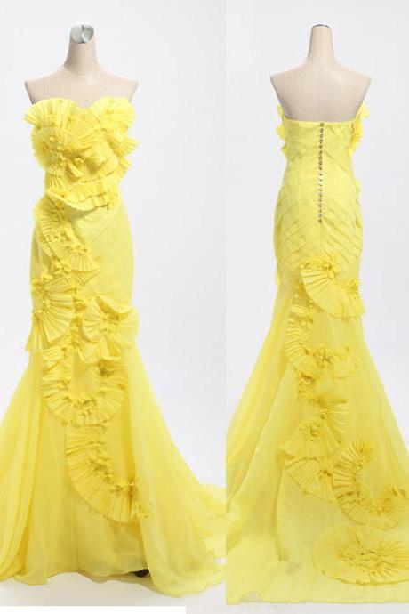 Mermaid Lemon Yellow Long Chiffon Prom Dresses with Tulle Appliques Women Dress