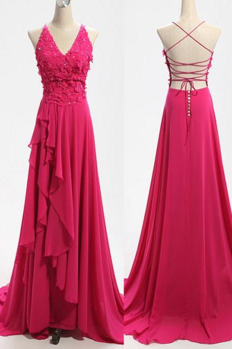 Long Rose Chiffon Prom Dresses Spaghetti Straps Lace Party Dress AY060701