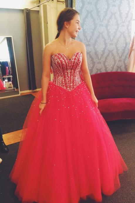 Ball Gown Tulle Red Prom Dress Strapless Beaded Long Women Dress