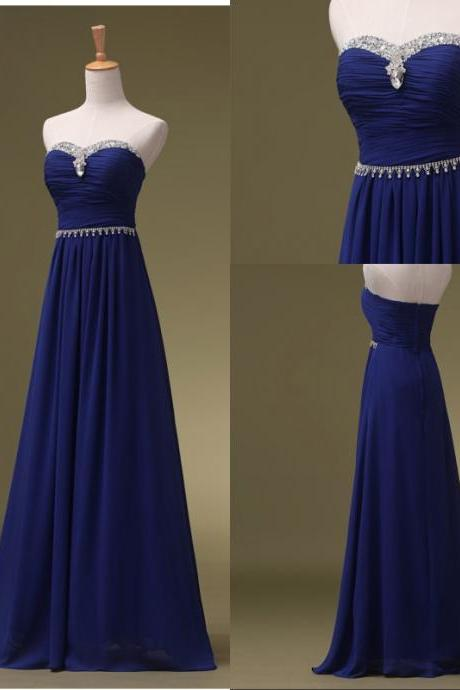 Royal Blue Long Chiffon Prom Dresses Strapless Beaded Women Party Dress