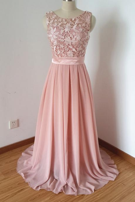 Light Pink Long Chiffon Prom Dresses with Appliques, Scoop Neck Party Dresses, Formal Evening Dresses