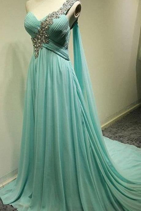 One Shoulder Long Chiffon Prom Dresses Crystals Pleat party Dresses
