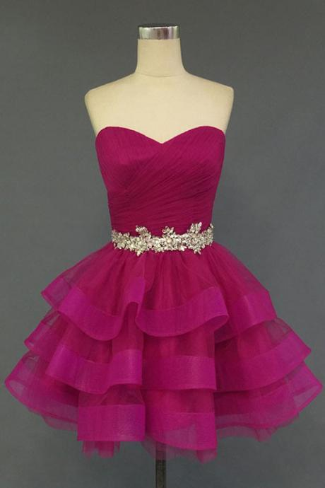 Sweetheart Neck Tiered Tulle Homecoming Dresses, Crystals Party Dresses