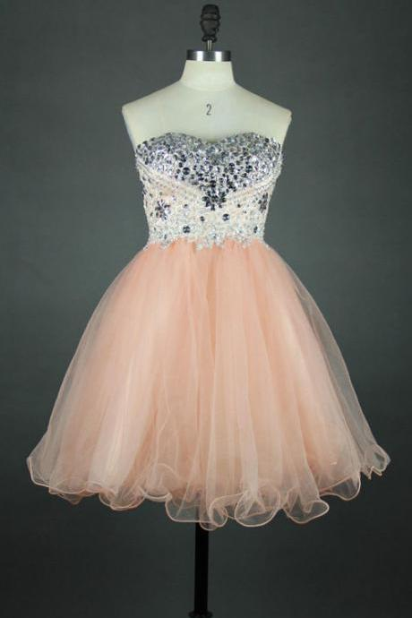 Custom Made Pink Sweetheart Neckline Crystal Embellished Tulle A-Line Short Evening Dress, Homecoming Dress, Cocktail Dresses, Graduation Dresses