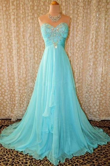 Women's Long Blue Chiffon prom Dresses Strapless Beaded Party Dresses