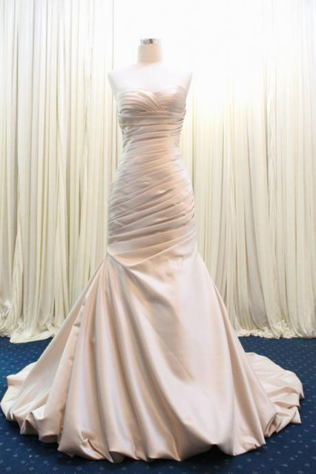Strapless Sweetheart Ruched Satin Mermaid Wedding Dress Featuring Lace-Up Back