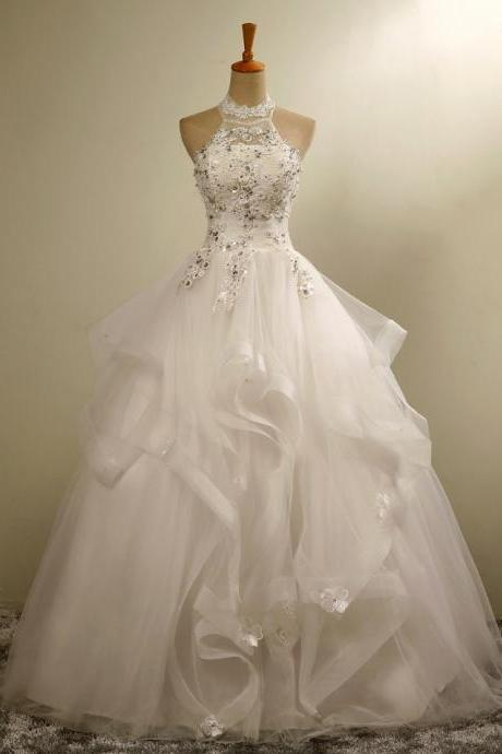 High Neck Floor-length Tulle Wedding dress with Ruffle Overskirt