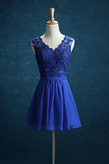 Short Royal Blue Chiffon Homecoming Dresses V-neck Appliques Party Dress
