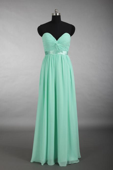 Women's Green Chiffon Bridesmaid Dress Strapless Women Party Dress