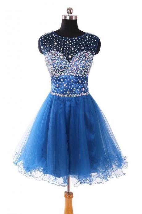 Blue Short Tulle Prom Dress Beaded Scoop neck Beaded Party Dresses