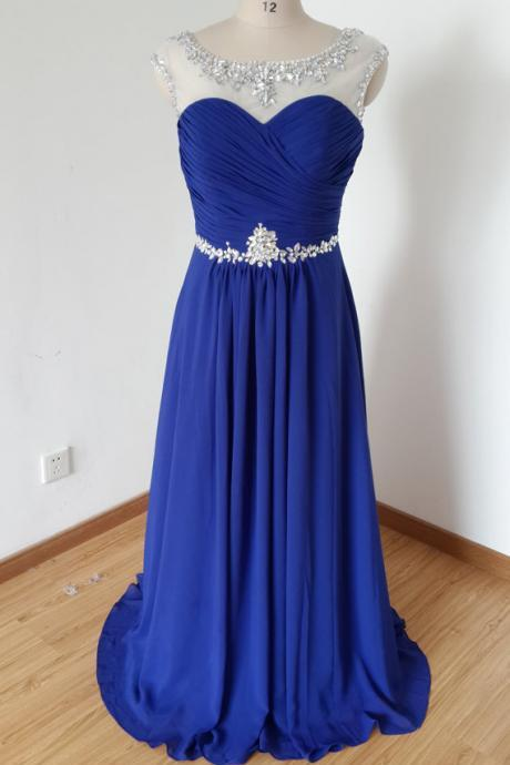 Royal Blue Long Chiffon Prom Dresses Scoop Neck Crystal Beaded Party Dresses