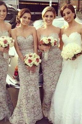 Sexy Long Mermaid Lace Bridesmaid Dresses Sweetheart Neck