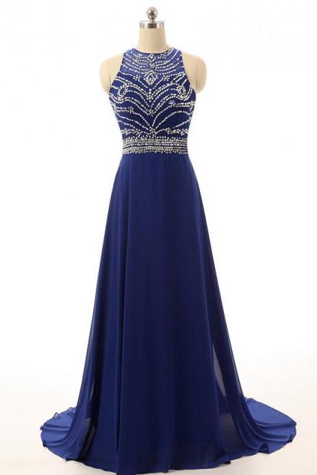 New Royal Blue Long Chiffon Prom Dresses Beading and Beaded