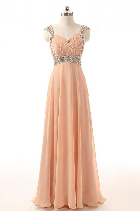 Long Chiffon Prom Dress Straps Beaded Women Party Dress