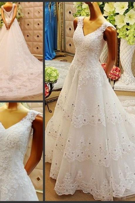V Neck White Layer Lace Wedding Dresses Beaded Long Bridal Gowns