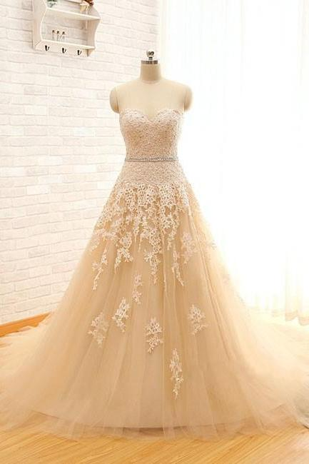 Champagne Tulle Lace Appliques Wedding Dresses A-line Women Bridal Gowns