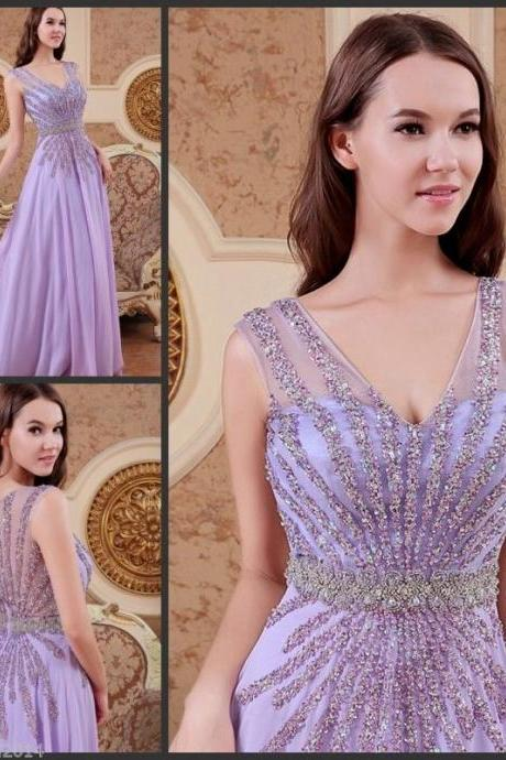 Scoop Neck Long Chiffon Prom Dresses Beading Sexy Custom Made Party Dresses