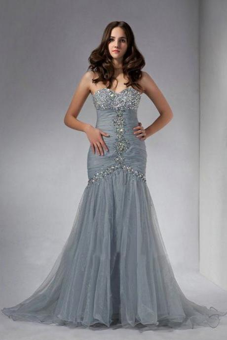 Sexy Mermaid Tulle Crystals Beaded Prom Dresses Custom Made Sweetheart Neck Party Dresses