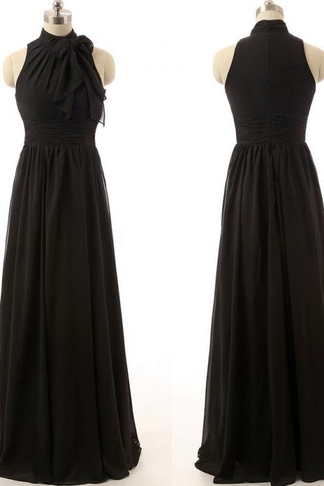 High Neck Long Chiffon Black Evening Dress