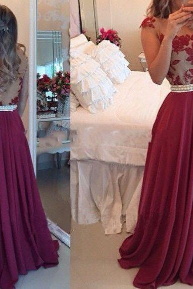 Sexy Long Chiffon Prom Dresses Appliques Custom Made party Dresses