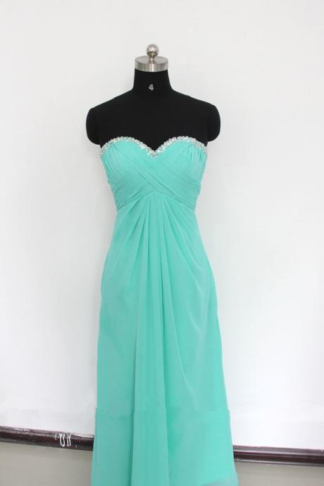 Sweetheart Neck Long Chiffon Green Prom Dresses Pleat beaded Women Dress