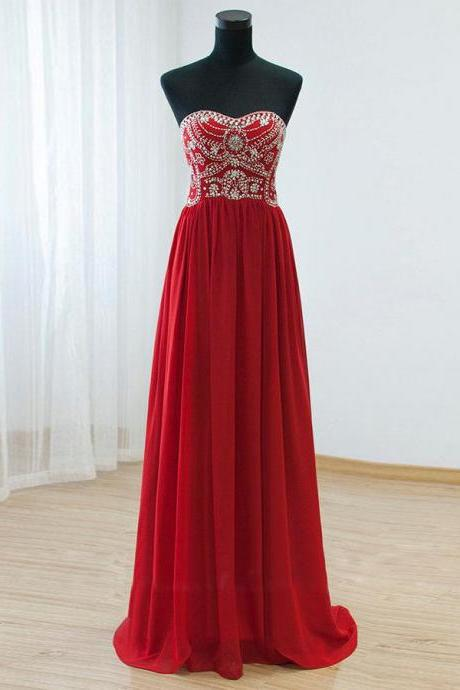 Strapless Long Chiffon red Prom Dresses Women beaded Party Dress
