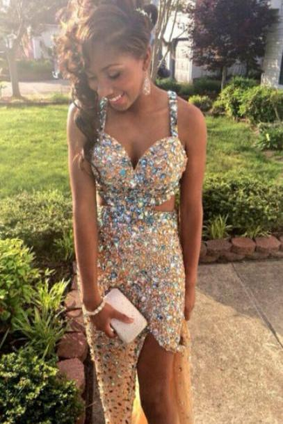 Shinning Crystals Beaded Prom Dresses Floor Length Spaghetti Straps Party Dresses