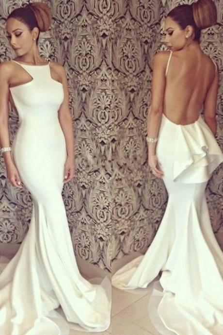 Backless Long Satin Ivory Party Dresses Floor Length Women evening Dress
