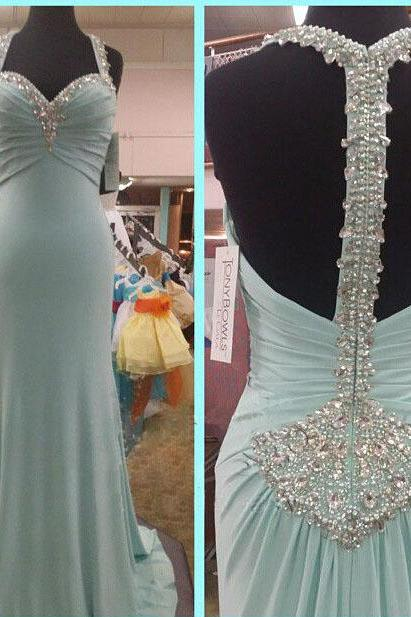 New Long Mermaid Chiffon Halter Neck Prom Dresses With Crystals Floor Length party Dresses Sexy Women Dresses