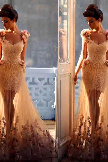 Tulle and Lace Prom Dress Floor Length Party Dresses with Flower Appliques