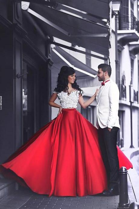 Long satin Appliques Prom Dresses Sweetheart Floor Length Party Dresses