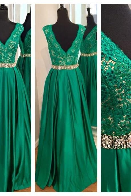 Dark Green long Satin Prom Dresses V-neck Appliques Beaded Party Dresses