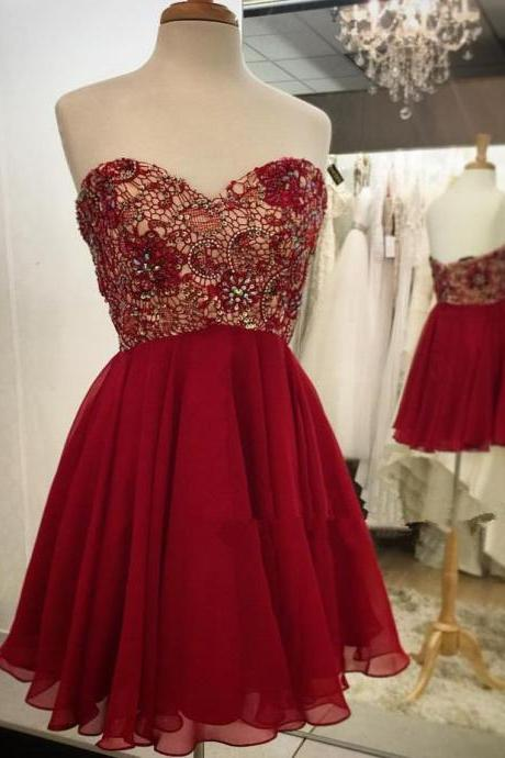 Short Chiffon Red Homecoming Dresses Lovely Mini Party Dress