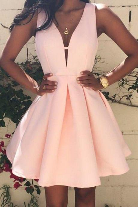 Short Lovely Pink Stain Dresses V-neck Mini homecoming Dresses Sexy party Dresses