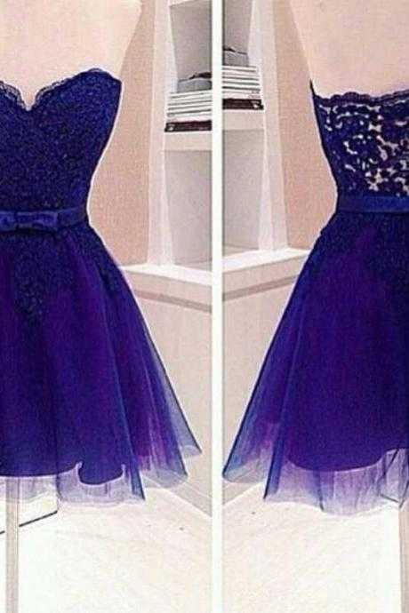Strapless Short Tulle Purple Homecoming Dresses Lace Appliques Mini Party Dresses