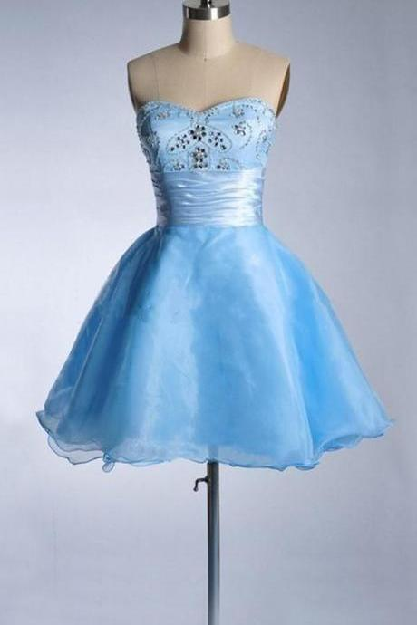 Short Tulle Blue Homecoming Dresses Crystals Beaded Party Dresses