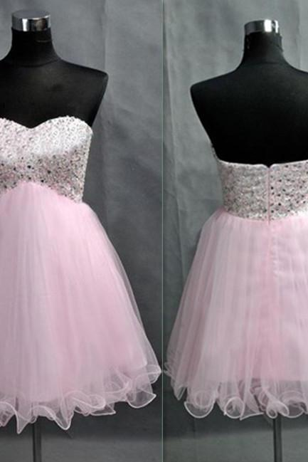 Lovely Short Tulle Pink Prom Dresses Crystals Beaded Party Dresses Sweetheart Neck