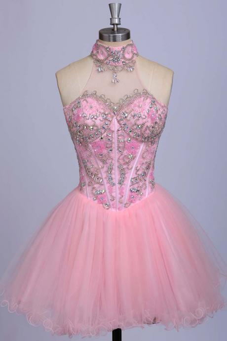 High Neck Short Tulle Pink Prom Dresses Crystal Beaded Party Dresses