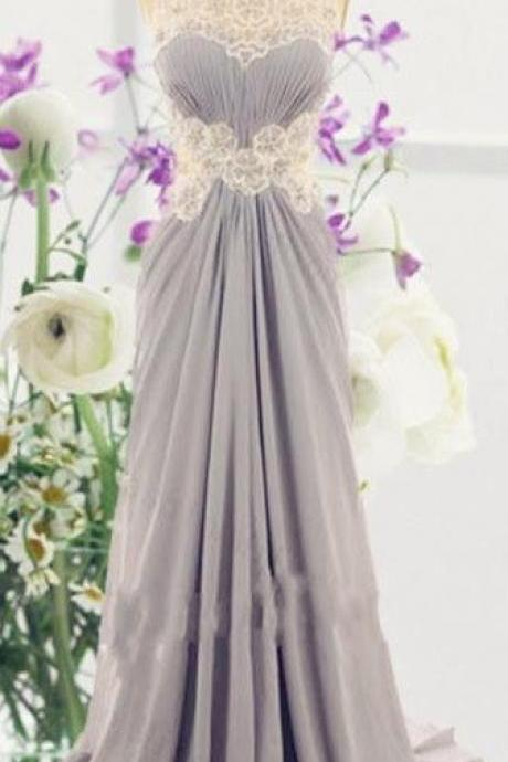 Long Chiffon Grey Prom Dresses Scoop Neck Floor Length Party Dresses
