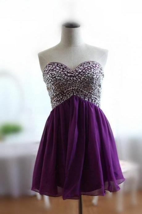 Short Chiffon Crystals Prom Dress Sweetheart Neck Strapless Mini Party Dresses