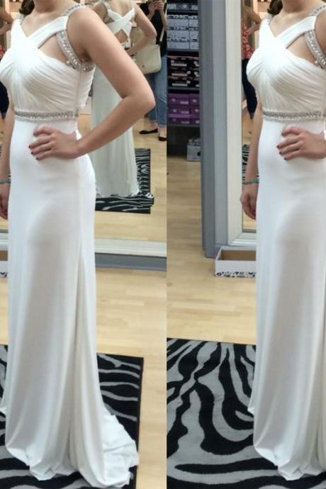 White Chiffon Prom Dresses Beaded Pleat Party Dresses Floor Length