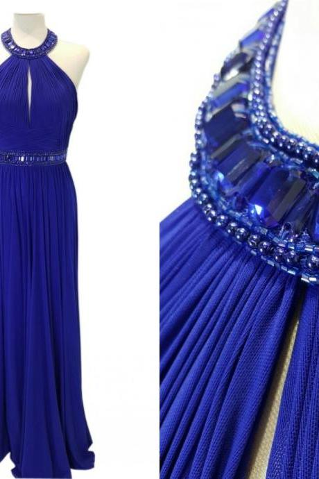 Royal Blue Long Chiffon Prom Dresses Beaded Floor Length Party Dresses