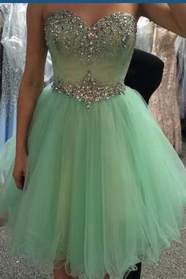 Short Tulle Green Prom Dress Mini beaded Party Dresses