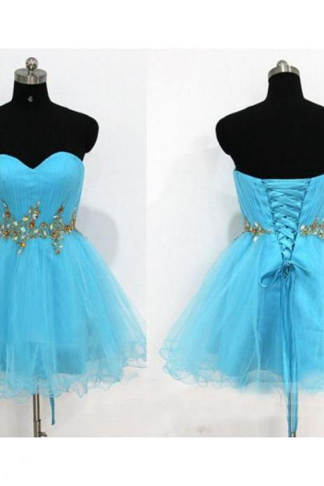 Sweetheart neck Short Tulle Blue Homecoming Dresses Above Knee Mini Party Dresses