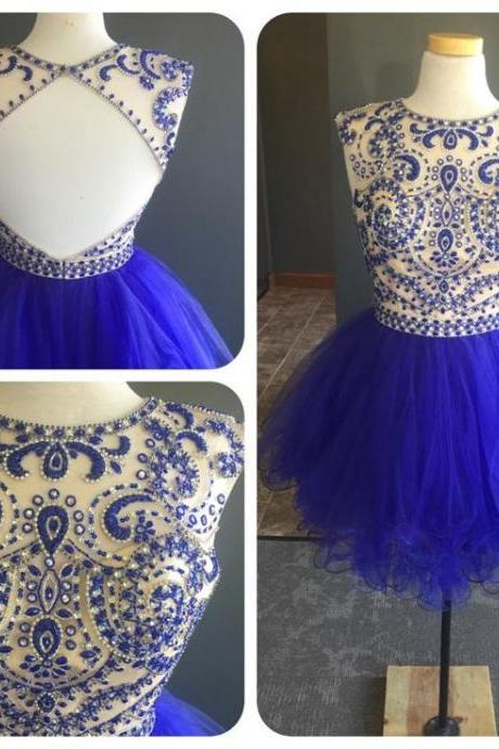 Short Tulle beaded Blue Prom Dress Mini Party Dresses