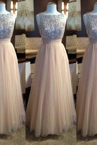 Scoop Neck A-line Tulle Prom Dresses Beaded Party Dresses Floor Length